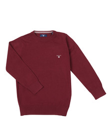 Gant Boys Red TB Lightweight Cotton Crew Jumper