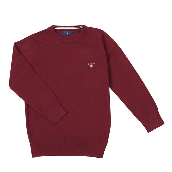 Gant Boys Red TB Lightweight Cotton Crew Jumper main image