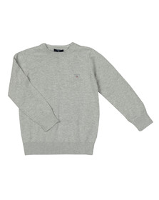 Gant Boys Grey TB Lightweight Cotton Crew Jumper