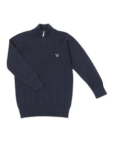 Gant Boys Blue TB Lightweight Cotton Half Zip