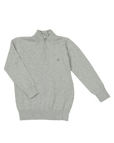 Gant Boys Grey TB Lightweight Cotton Half Zip