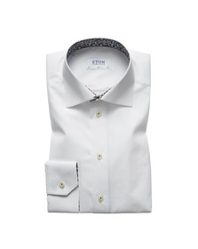 Eton Mens White Floral Detail Slim Shirt