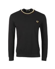 Fred Perry (Reissues) Mens Black LS Crew Neck Pique T-Shirt