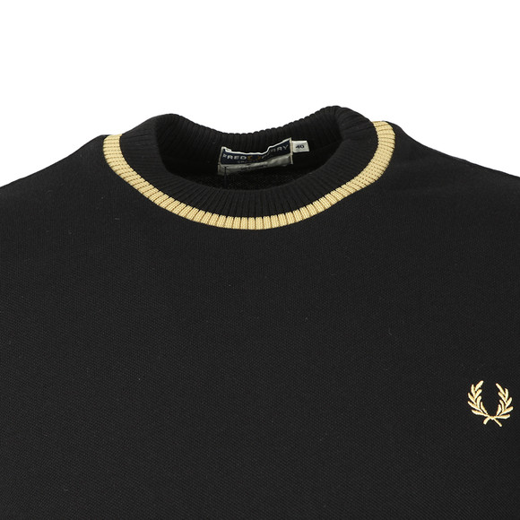 Fred Perry (Reissues) Mens Black LS Crew Neck Pique T-Shirt main image