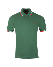 Fred Perry M12 Mens Green S/S Tipped Polo