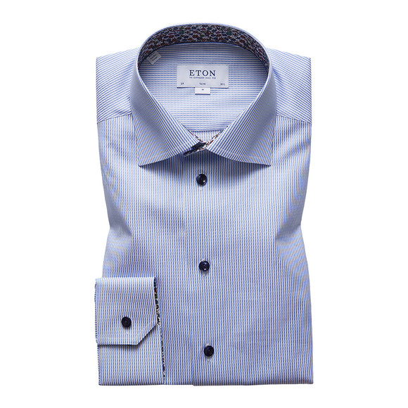 Eton Mens Blue Floral Detail Slim Shirt main image
