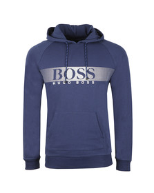 BOSS Mens Blue Large Logo Hoody