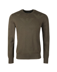 Emporio Armani Mens Green Allover Eagle Pattern Jumper