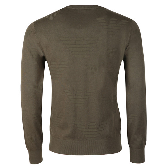 Emporio Armani Mens Green Allover Eagle Pattern Jumper main image
