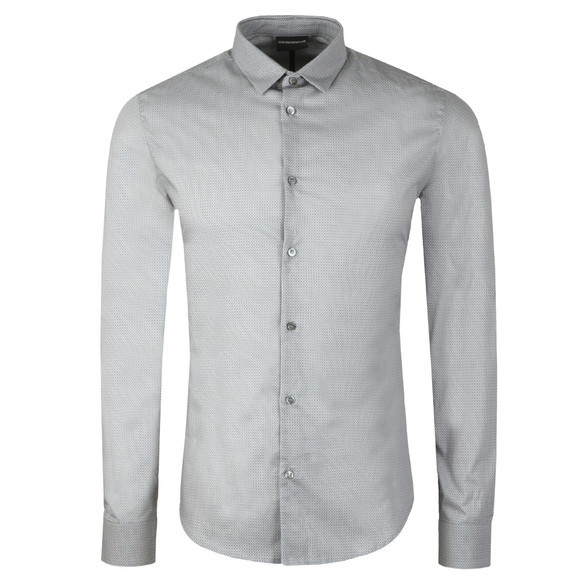 Emporio Armani Mens Grey Allover Pattern Shirt