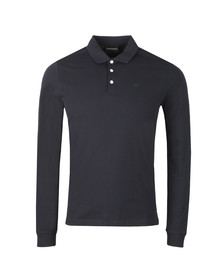 Emporio Armani Mens Blue Small Logo LS  Polo Shirt