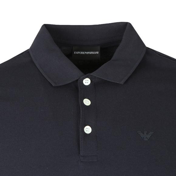 Emporio Armani Mens Blue Small Logo LS  Polo Shirt main image