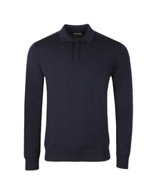 Emporio Armani Mens Blue Long Sleeve Knitted Polo Shirt