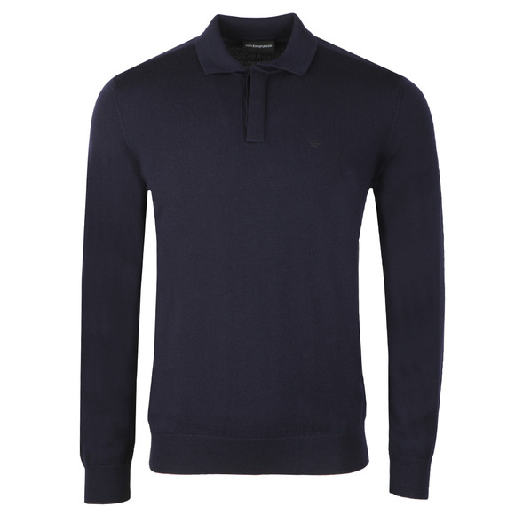 Emporio Armani Mens Blue Long Sleeve Knitted Polo Shirt main image