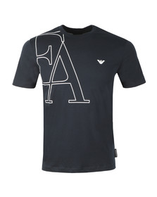Emporio Armani Mens Blue EA Small Eagle Logo T Shirt