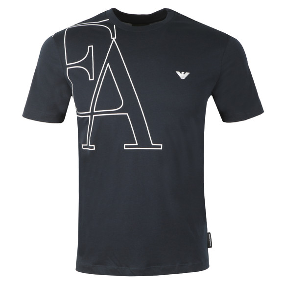 Emporio Armani Mens Blue EA Small Eagle Logo T Shirt main image