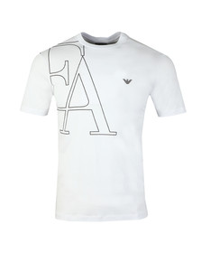 Emporio Armani Mens White EA Small Eagle Logo T Shirt