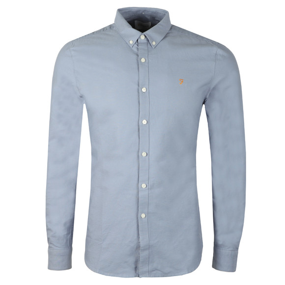 Farah Mens Blue L/S Brewer Oxford Shirt main image