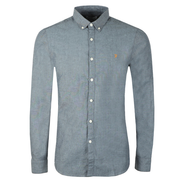 Farah Mens Blue L/S Steen Slim Shirt main image