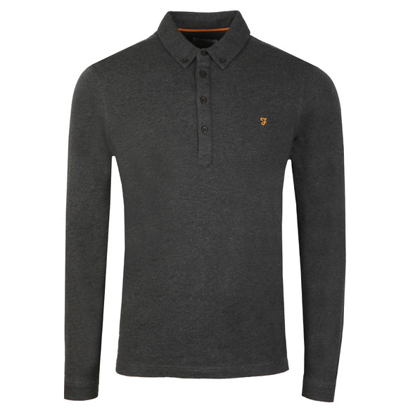 Farah Mens Grey Merriweather L/S Polo Shirt main image