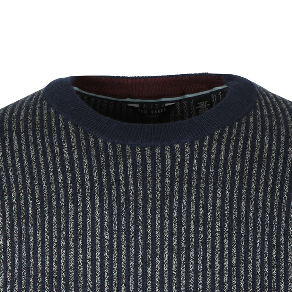 Ted Baker Mens Blue Jinxi Vertical Striped Crew Neck Knit main image