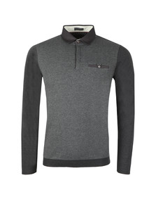 Ted Baker Mens Grey Friend LS Ribstart Polo