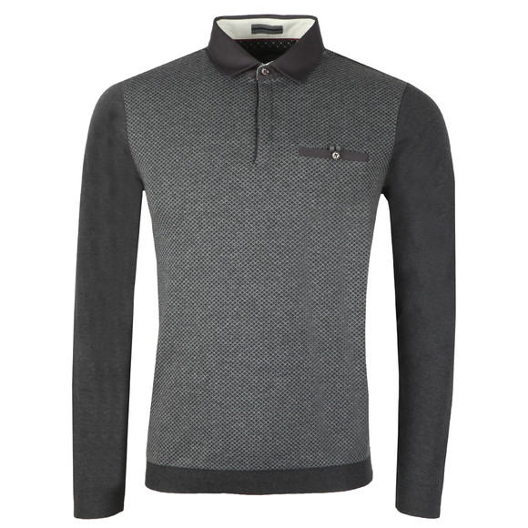 Ted Baker Mens Grey Friend LS Ribstart Polo main image
