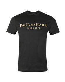 Paul & Shark Mens Black Gold Logo Shark Fit T Shirt
