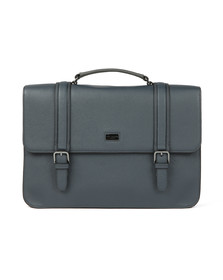Ted Baker Mens Blue Cross Grain Satchel