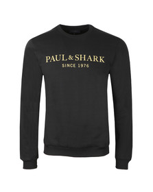 Paul & Shark Mens Black Gold Logo Sweatshirt
