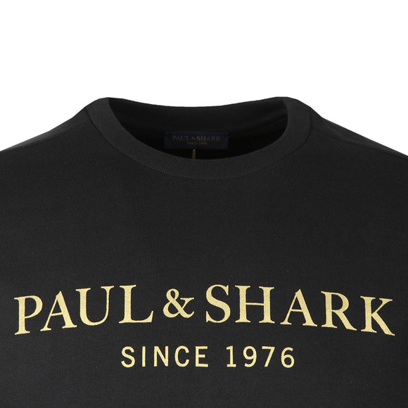 Paul & Shark Mens Black Gold Logo Sweatshirt main image