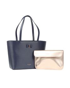 Ted Baker Womens Blue Deanie Bow Detail Small Shopper