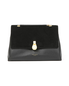 Ted Baker Womens Black Hermiaa Suede Padlock Shoulder Bag