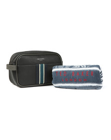 Ted Baker Mens Black Webbing Wash Bag and Towel