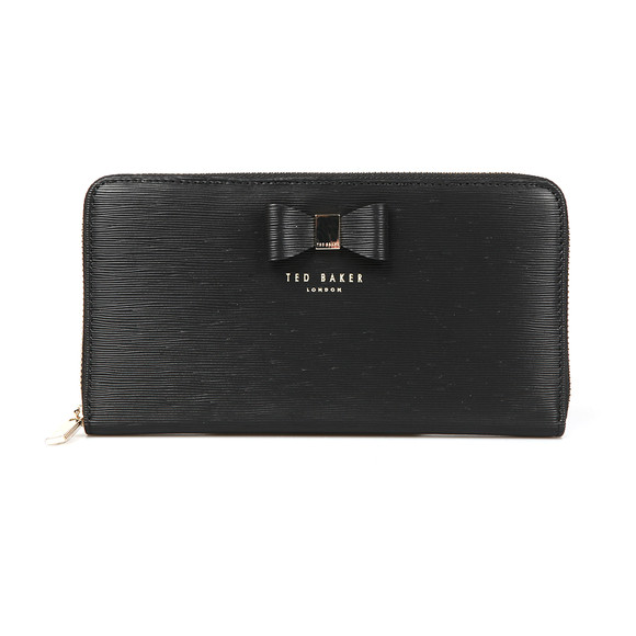 Ted Baker Womens Black Peony Textured Zip Around Matinee Purse main image