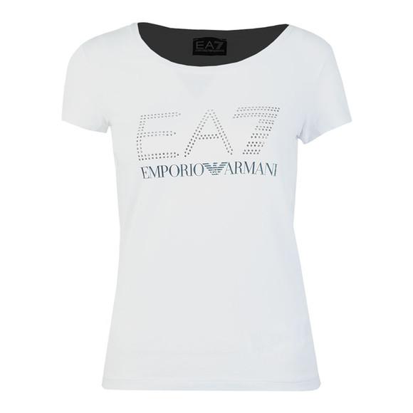 EA7 Emporio Armani Womens White Gem Logo T Shirt main image