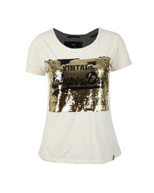 Superdry Womens Off-White Premium Sequin Slim BF T Shirt