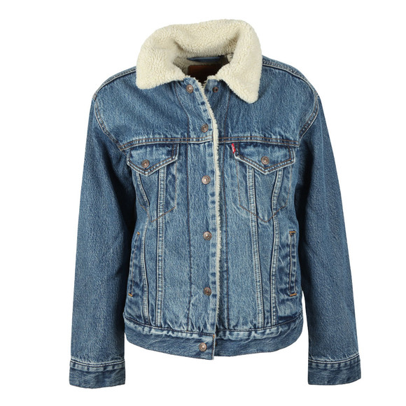 Levi's Womens Blue Ex Boyfriend Sherpa Jacket