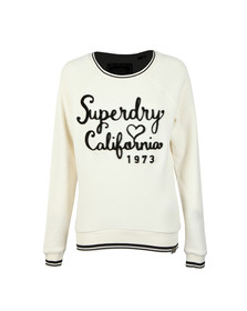 Superdry Womens Off-White American Girl Reversed Crew Sweat