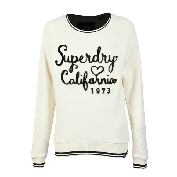 Superdry Womens Off-White American Girl Reversed Crew Sweat main image