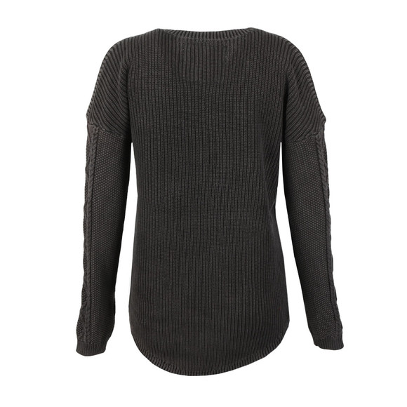 Superdry Womens Black Acid Wash Cold Shoulder Jumper main image