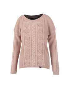 Superdry Womens Pink Acid Wash Cold Shoulder Jumper