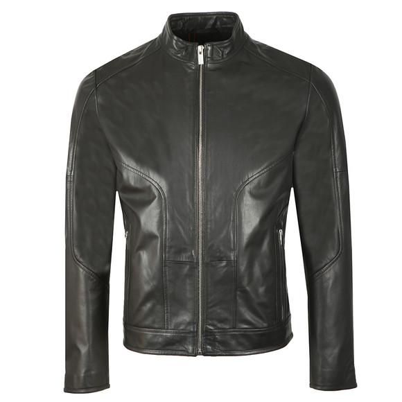 HUGO Mens Black Lemson Leather Jacket main image