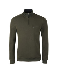 Ted Baker Mens Green Leevit Half Zip Funnel Neck Sweat
