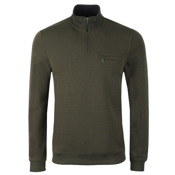 Ted Baker Mens Green Leevit Half Zip Funnel Neck Sweat main image