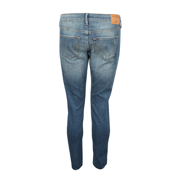 True Religion Womens Blue Mid Rise Halle Super Skinny Jean