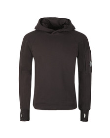 C.P. Company Mens Black Diagonal Fleece Hooded Sweat