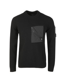 C.P. Company Mens Black Lambswool Mixed Crew Neck Knit