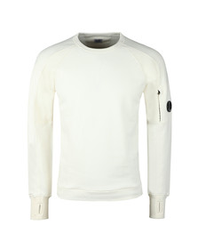 C.P. Company Mens Off-white Diagonal Fleece Crew Neck Sweatshirt