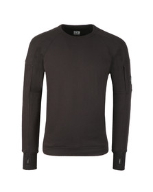 C.P. Company Mens Black Diagonal Fleece Crew Neck Sweatshirt